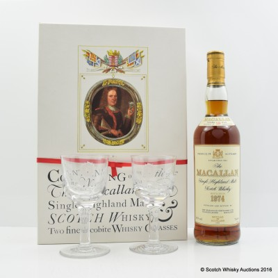 Macallan 18 Year Old 1974 Jacobite Set With Glasses