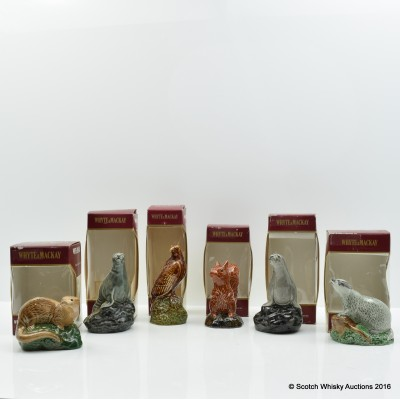 Whyte & Mackay Ceramic Animal Decanters 6 x 5cl