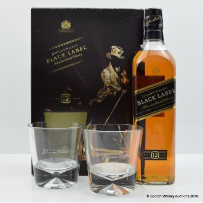 Johnnie Walker Black Label & 2 Glasses Gift Set