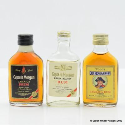 Assorted Rum Miniatures x 3 Including Captain Morgan
