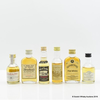Assorted Minis 6 x 5cl Including Tamdhu 8 Year Old 70° Proof