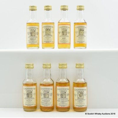 Assorted Connoisseurs Choice Minis 8 x 5cl Including Banff 1974 5cl