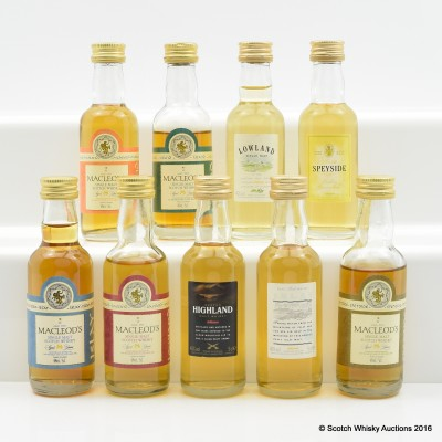 Assorted Minis 9 x 5cl Including Macleod's Lowland 8 Year Old 5cl