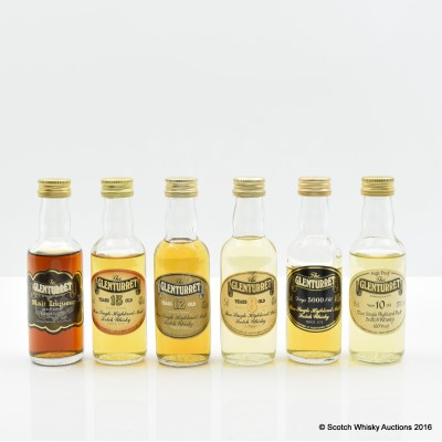 Assorted Glenturret Minis 6 x 5cl Including Glenturret Malt Liqueur