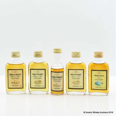 Assorted Minis 5 x 5cl Including Pride of Islay 12 Year Old 5cl