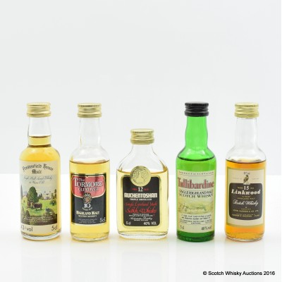 Assorted Minis 5 x 5cl Including Linkwood 15 Year Old