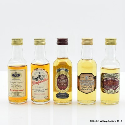 Assorted Minis 5 x 5cl Including Glenfarclas 10 Year Old