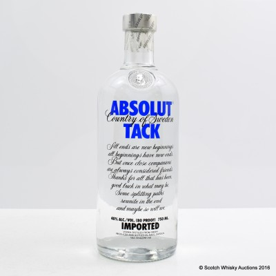 Absolut Vodka Tack 75cl