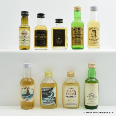 Assorted Minis 9 x 5cl Including Teacher's Reserve Stock 5cl