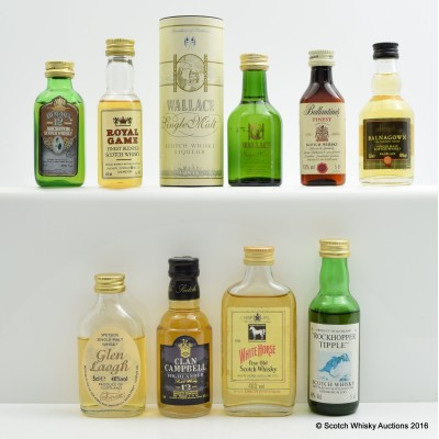 Assorted Minis 9 x 5cl Including Wallace Liqueur 5cl