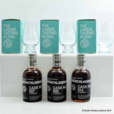 Bruichladdich 2015 Twitter Tasting Set 3 x 20cl with Glasses