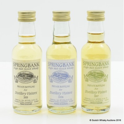 Springbank Distillery Visitors Miniatures 3 x 5cl - 2005, 2006 & 2007