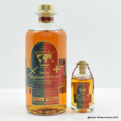 Swiss Whisky - Smallest Bar On Earth Red & Blue 50cl With Matching Miniature 4cl