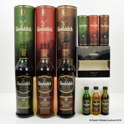Glenfiddich 12, 15 & 18 Year Old & Matching Minis Set