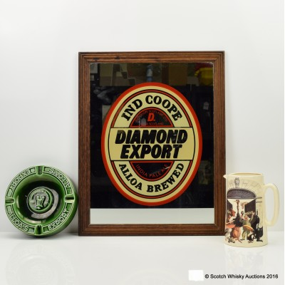 Diamond Export Indian Pale Ale Pub Mirror, Water Jug & Ashtray