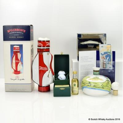 McGibbon's Ceramic Decanter, McGibbon's Golf Bag Decanter, Hart Brothers 19th Hole Miniature Set with Golf Balls & Jack Nicklaus £5
