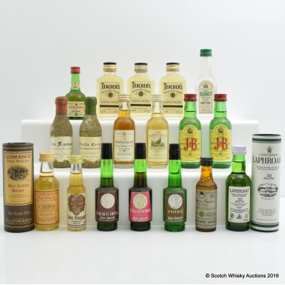Assorted Minis x 18 Including Laphroaig 10 Year Old 5cl