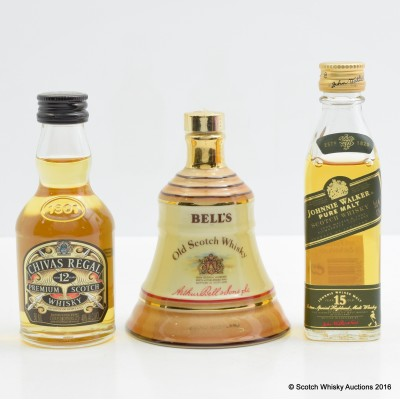 Assorted Minis 3 x 5cl Including Johnnie Walker Green Label 5cl