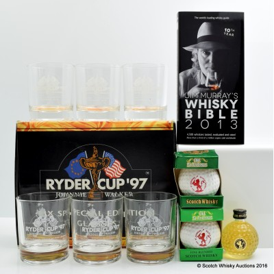 Johnnie Walker Ryder Cup 1997 Glasses x 6, St Andrews Minis 3 x 5cl & Jim Murray Whisky Bible 2013
