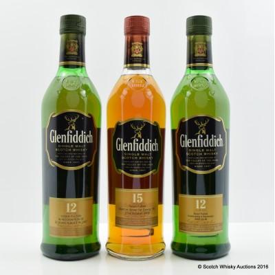Glenfiddich 12 Year Old 70cl x 2 & Glenfiddich 15 Year Old 70cl