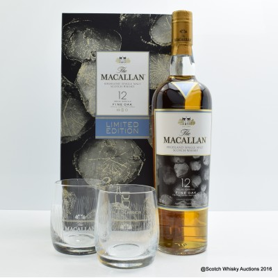 Macallan 12 Year Old Fine Oak (2 x glasses set)