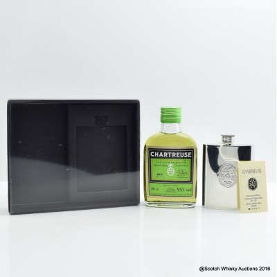 Chartreuse Liqueur 20cl & Hip Flask Set