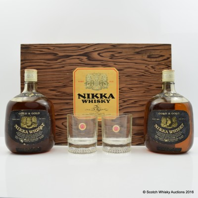 Nikka Gold & Gold 2 x 76cl and Glasses Set