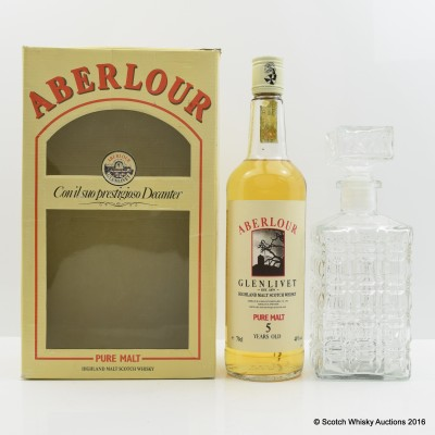 Aberlour Glenlivet 5 Year Old Pure Malt with Glass Decanter