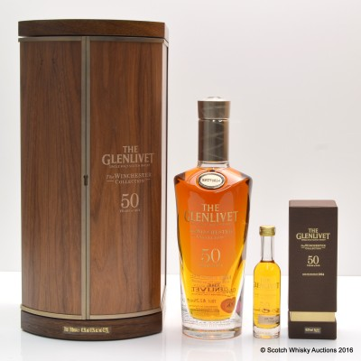 Glenlivet 1964 50 Year Old Winchester Collection With Matching Miniature 5cl