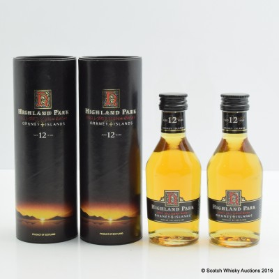 Highland Park 12 Year Old minis x 2