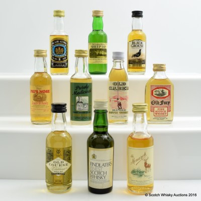 Assorted Miniatures 10 x 5cl Including Findlater's Finest Scotch 5cl