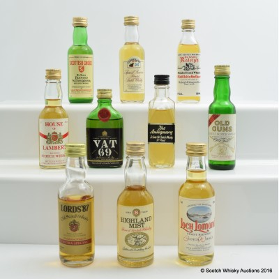 Assorted Miniatures 10 x 5cl Including Highland Mist 8 Year Old 5cl