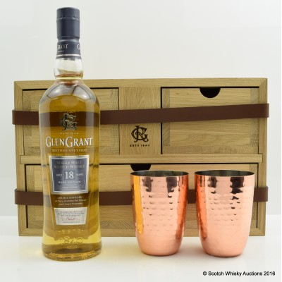Glen Grant 18 Year Old in Wooden Cabinet with 2 x Tumblers