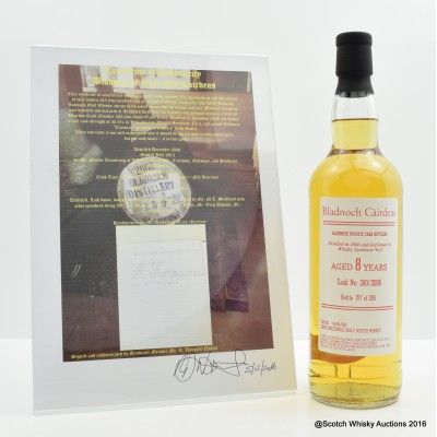Bladnoch 2006 8 Year Old Cairdeas with certificate