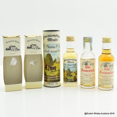 Assorted Prestonfield Minis 3 x 5cl Including Bowmore 1965 22 Year Old Prestonfield