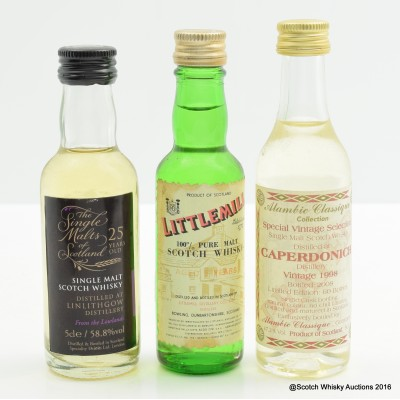Assorted Minis 3 x 5cl Including Linlithgow 25 Year Old Speciality Drinks Mini 5cl