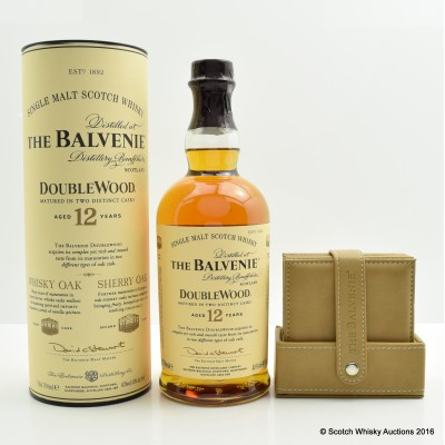 Balvenie 12 Year Old DoubleWood with Leather Coasters x 6
