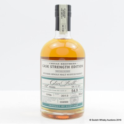 Glen Keith Reopening 1996 17 Year Old  Chivas Brothers Cask Strength Edition 50cl