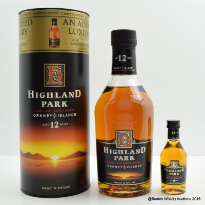 Highland Park 12 Year Old Dumpy Bottle with 18 Year Old Mini