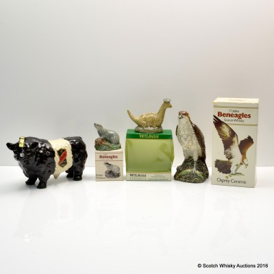 Ceramic Animal Decanters x 4 Including Rutherford's Bull Decanter