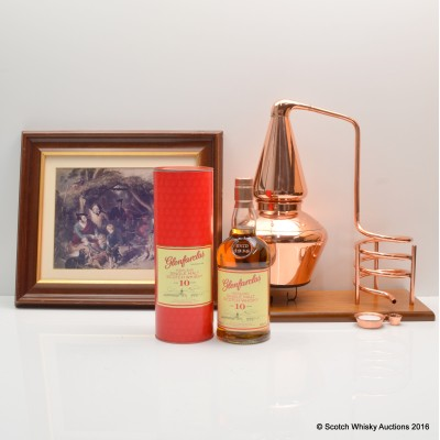 Copper Still Display Stand, Glenfarclas 10 Year Old & Ancient Whisky Distilling Framed Picture