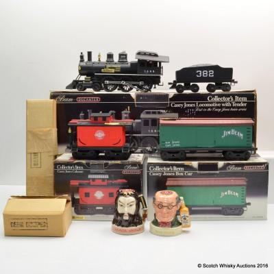 Beam Casey Jones Locomotive Decanters 3 x 37.5cl & Jim Beam Ceramic Decanter 2 x 20cl with Assorted Accessories