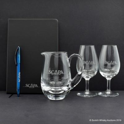 Scapa Branded Glass Water Jug, 2 x Tasting Glasses, Notebook & Pen