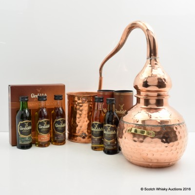 Glenfiddich Miniature Family Collection 3 x 5cl, Glenfiddich 15 Year Old Mini, Glenfiddich 18 Year Old Mini & Large Copper Model Still