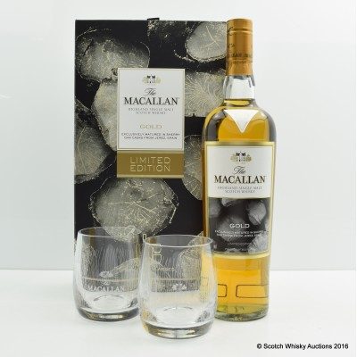 Macallan Gold Limited Edition & 2 x Glasses Gift Set