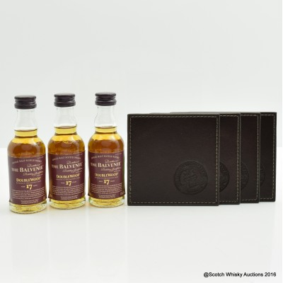 Balvenie 17 Year Old DoubleWood Minis 3 x 5cl & Coasters x 4