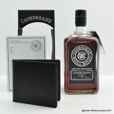 Glenrothes-Glenlivet 1990 24 Year Old Cadenhead's with Notepad & Wallet