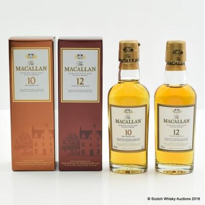 Macallan 10 Year Old Miniature 5cl & Macallan 12 Year Old Miniature 5cl