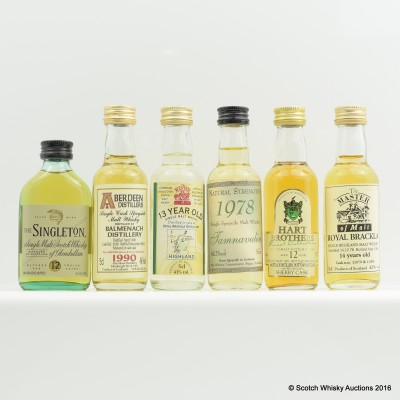 Assorted Minis 6 x 5cl Including Mortlach 12 Year Old Hart Bros 5cl