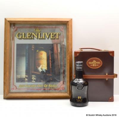 Glenlivet 21 Year Old 1740's Replica in Leather Suitcase 75cl & Glenlivet Framed Picture